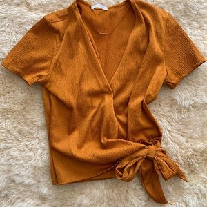 Zara Burnt Orange Wrap Short Sleeve Top w/ Bow